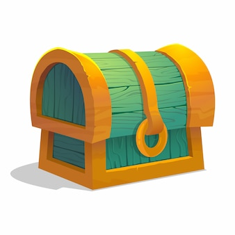 Cartoon colorful closed treasure chest for game interface.