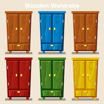 Cartoon colorful closed wardrobe, living room wooden furniture