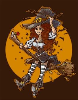 木製のほうきで飛んでいる大きな帽子の魔女笑顔カラフルなかわいい赤毛の漫画。コウモリと満月に。ハッピーハロウィン