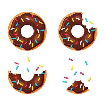 Мультфильм красочные пончики набор, изолированные на белом фоне. укушенный и почти съеденный пончик. вид сверху сладкие сахарные пончики. иллюстрация в модном плоском стиле.