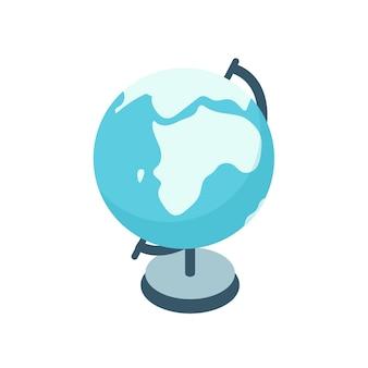 만화 다채로운 지구 글로브 벡터 그래픽 일러스트입니다. 여행, 탐험 및 흰색 배경에 고립 된 휴가의 장식 색 상징. 글로벌 세계의 창조적인 구체 모델.