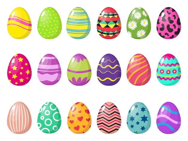 Cartoon colorful easter eggs  with patterns  on white background