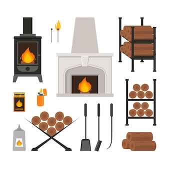 Cartoon colorful fireplace icons set flat style design for web