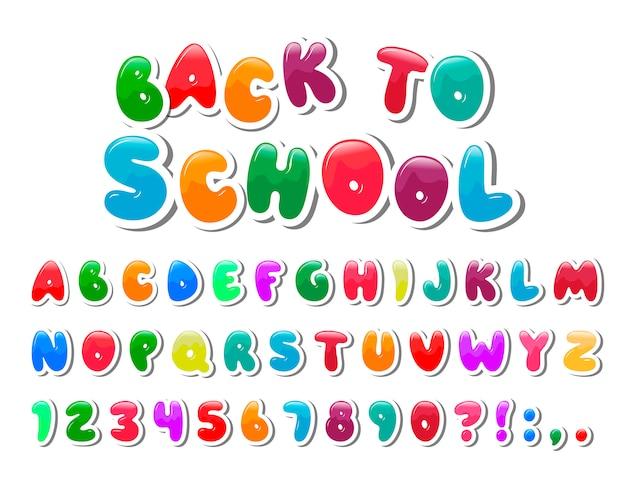 Мультфильм красочный шрифт для детей. творческая краска алфавит.