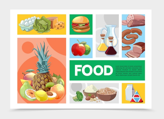 Cartoon colorful food infographic template