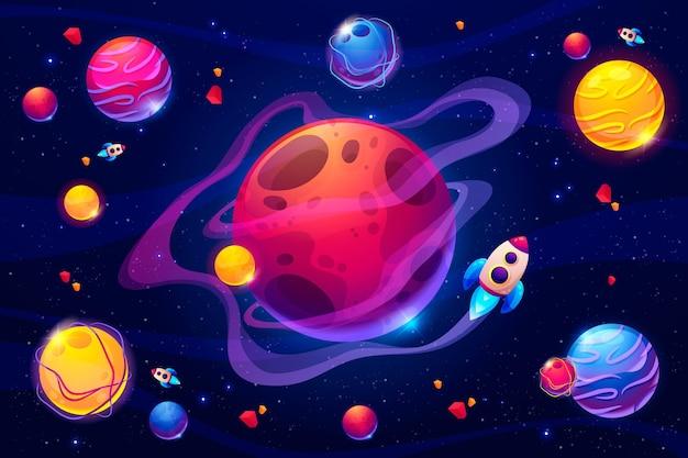 Мультяшный красочный фон галактики