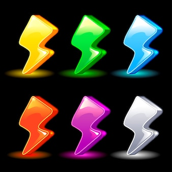Cartoon colorful lightning icon for the game