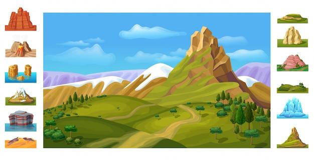 Мультфильм красочный природа пейзаж шаблон