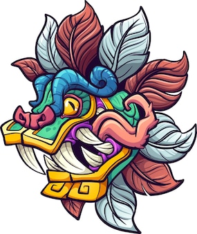 Мультяшный красочный кецалькоатль ацтекская голова бога с высунутым языком
