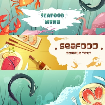 Cartoon colorful seafood banner