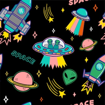 Cartoon colorful set seamless pattern with ufo aliens spaceship planet and stars on dark background.
