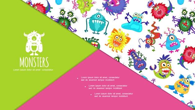 Diapositiva colorata del fumetto con composizione di mostri carini con creature spaventose e brutte arrabbiate divertenti