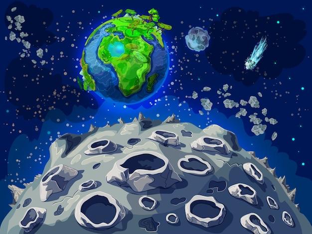 Мультфильм красочный космический пейзаж шаблон