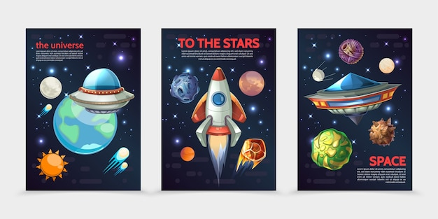 Cartoon colorful space vertical banners with rocket ufo spaceships sun earth different planets asteroids