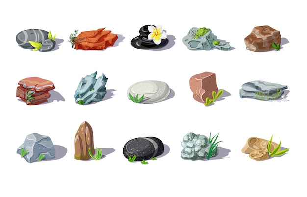 Cartoon colorful stones set of different shapes and materials with plants and leaves isolated