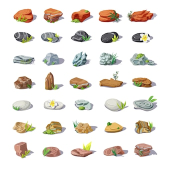 Cartoon colorful stones set with boulders pebbles sandstones rubbles cobblestones rocks of different shapes isolated