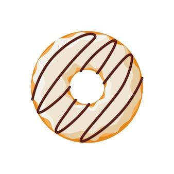 Мультяшный красочный вкусный пончик на белом фоне. полоса глазурованный вид сверху пончика для украшения торта или дизайна меню. векторная иллюстрация плоский