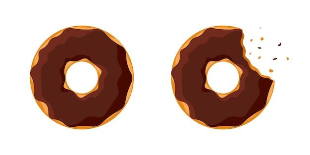 만화 다채로운 맛 있는 도넛 전체 및 물린 세트 흰색 배경에 고립. 케이크 카페 장식 또는 메뉴 디자인을 위한 초콜릿 글레이즈 도넛 상단 전망. 벡터 평면 eps 일러스트 레이 션