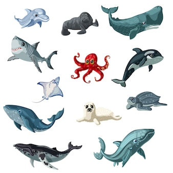Cartoon colorful underwater animals set