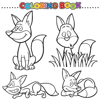 Cartoon coloring book - fox