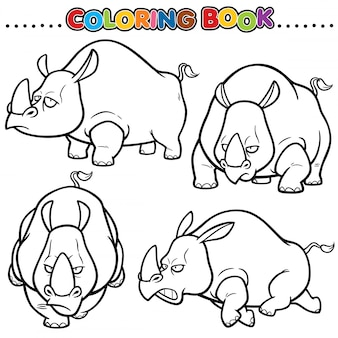 Cartoon coloring book - rhinos