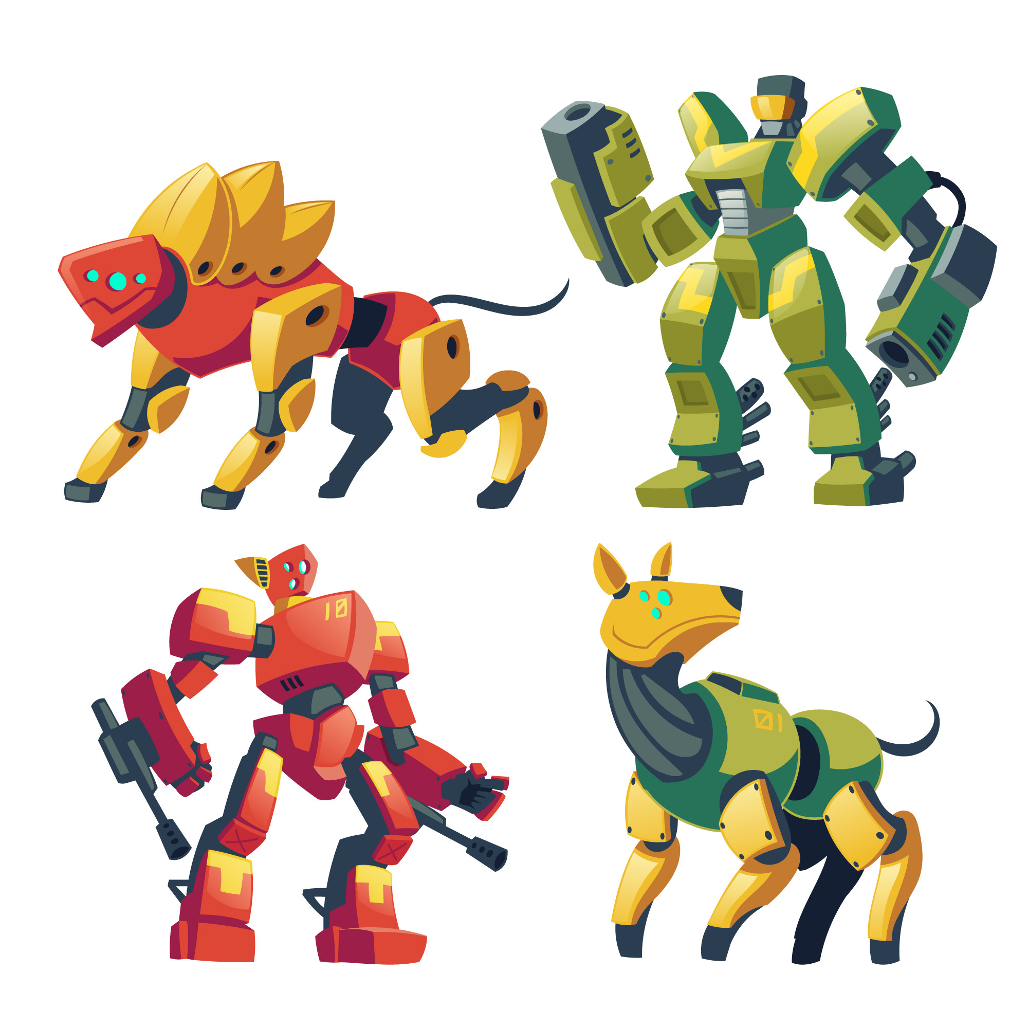 Cartoon combat robots and mechanical dogs. Battle androids with artificial intelligence
