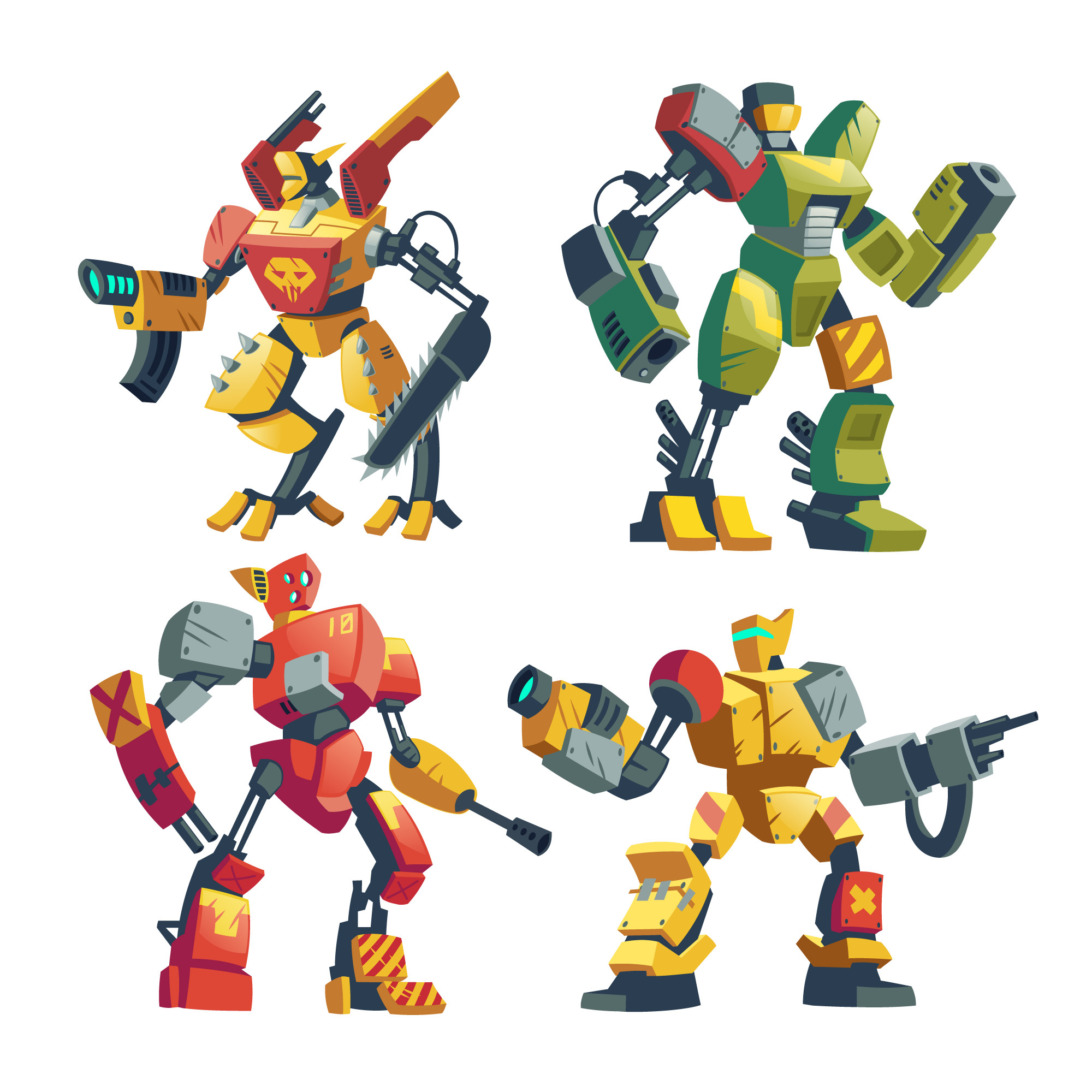 Cartoon combat robots. Battle androids with artificial intelligence in protective armor