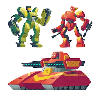 Cartoon combat robots with red tank. Battle androids with artificial intelligence