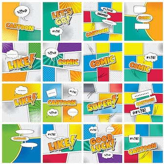 Cartoon comic book template theme vector art illustration