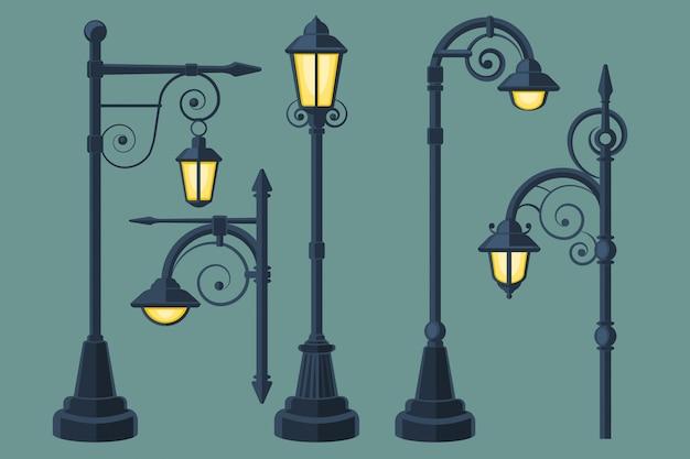 漫画、漫画本ヴィンテージとモダンな街灯ベクトルセット