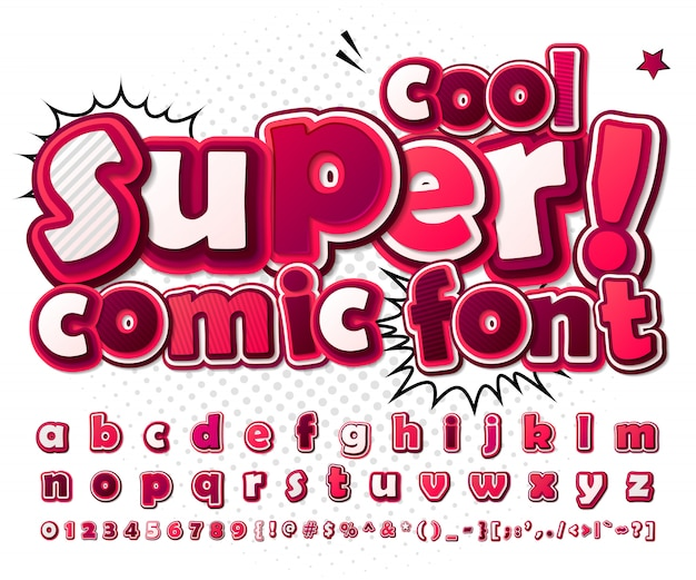 Cartoon comic font. pink alphabet in style of comics, pop art.  multilayer 3d letters and figures