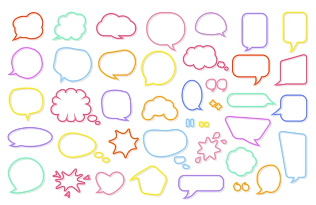 Cartoon comic retro speech bubble set. comics message template. empty text box different shapes.