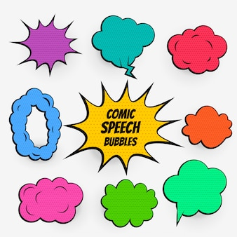 Cartoon comic speech bubbles in many colors