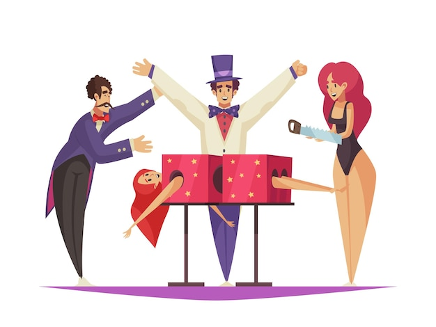 Cartoon composition with circus artist performing trick with sawing woman
