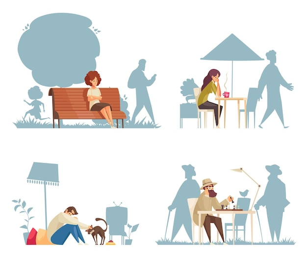 Cartoon compositions with lonely sad people sitting at cafe on bench playing chess stroking cats isolated