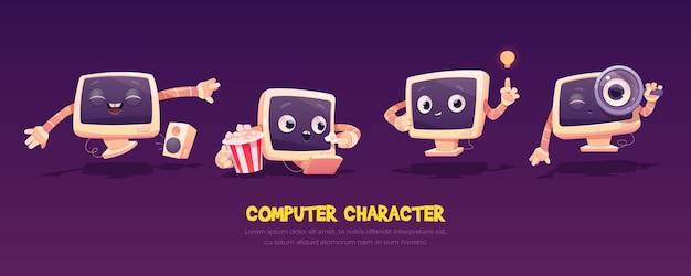 Cartoon computer character set. cute pc desktop