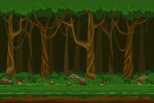 Cartoon computer games night forest landscape. plant green, natural environment, wood and grass,