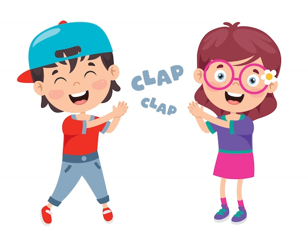 Cartoon concept of clapping hands