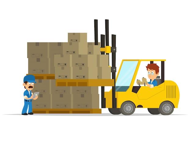 Cartoon concept of a logistics center.