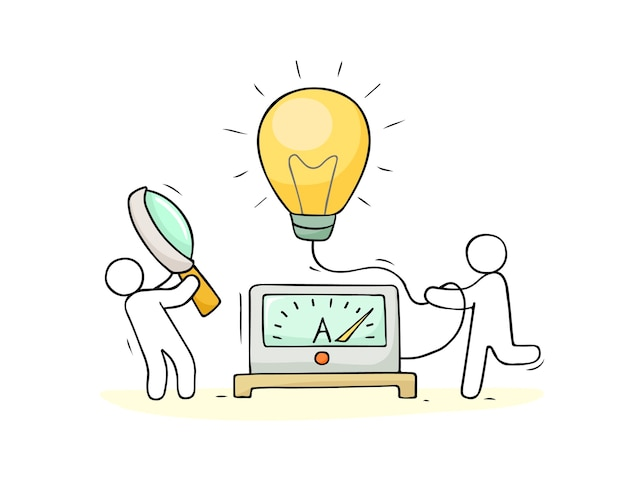 ランプのアイデアと創造的な人々と漫画のコンセプト。アイデアを作るというビジネスコンセプト。