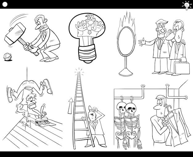 만화 개념과 말 세트
