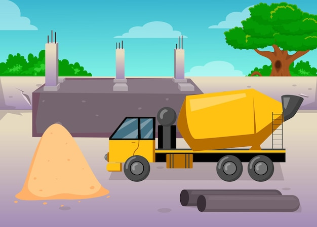 Cartoon concrete or cement mixing machine on construction site