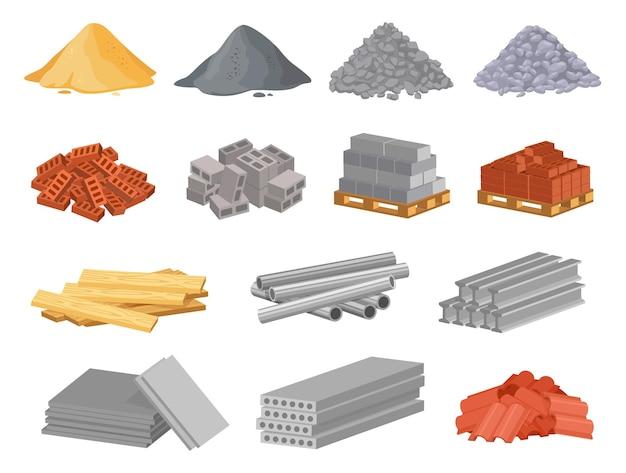 만화 건설 건축 자재 모래 자갈 더미 벽돌 스택 금속 파이프 시멘트 벡터 세트