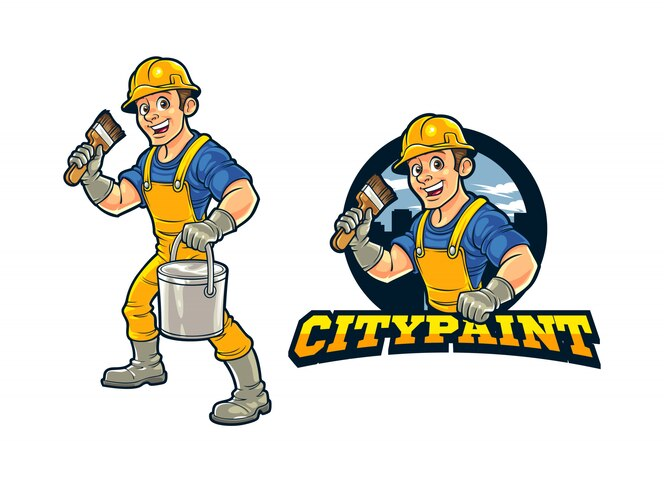 Premium Vector Cartoon Construction Worker City Wall Painter Character Mascot Logo