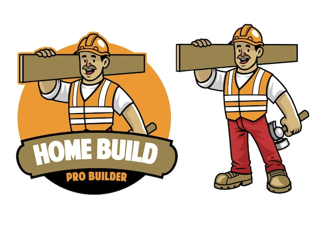 漫画の建設労働者のマスコット
