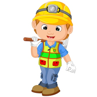 Cartoon construction worker repairman with pickaxe