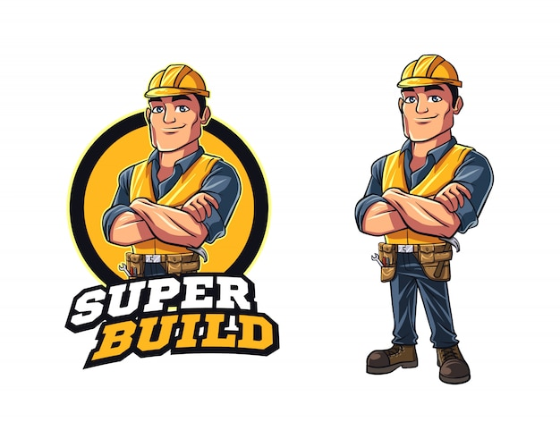 Cartoon contractor character mascot logo