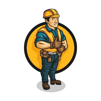 Cartoon contractor character mascot logo.