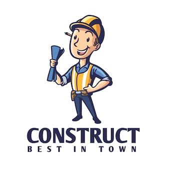 Cartoon contractor holding blue print character mascot logo