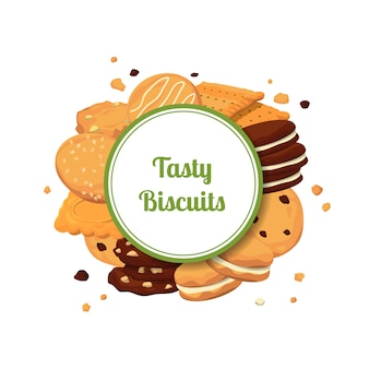 Cartoon cookies under circle with place for text